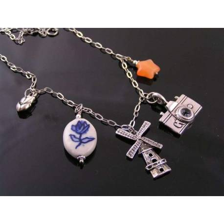 Charm Necklace, Travel to Holland, Windmill and Delft Porcelain