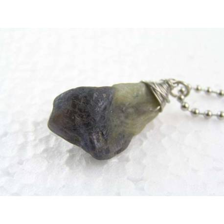 Rough Gemstone Necklace for Him, Stainless Steel