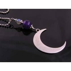 Crescent Moon Necklace with Amethyst and Labradorite