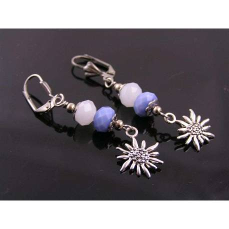 Edelweiss Charm Earrings, Colours of Bavaria