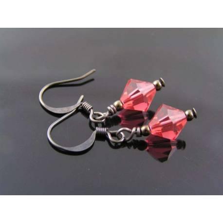 Tiny Padparadcha Crystal Earings