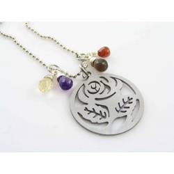 Cut-out Rose Pendant with Gemstones Necklace