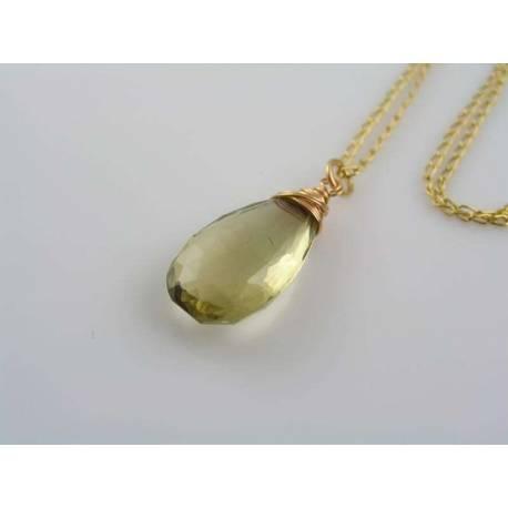 Large Honey Quartz Necklace in Solid Bronze