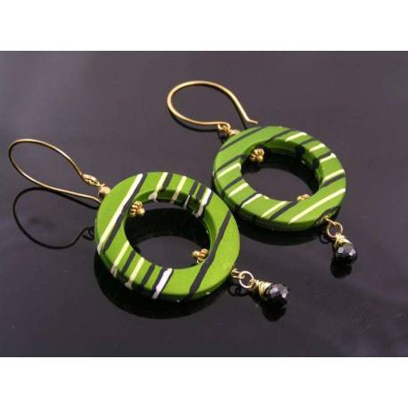 Green Retro Hoop Earrings