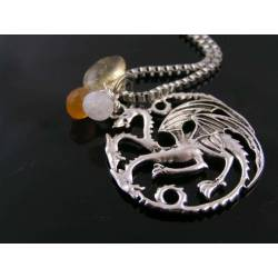 Targaryen Sigil 3 Headed Dragon Necklace, Game of Thrones, Ice and Fire Gemstones