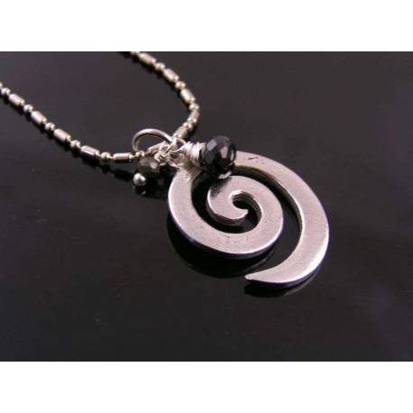 Spinel, Pyrite and Spiral Pendant Necklace