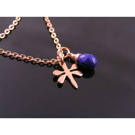 Lapis Lazuli and Dragonfly Charm Rose Gold Necklace