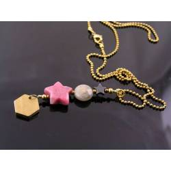 Shapes - Initial Necklace with Gemstone Shapes