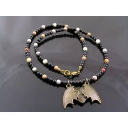 Bat Wing Necklace, Black Agate and Carnelian