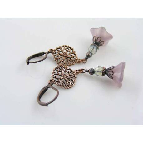 Old Fashioned Purple Opal Flower Earrings