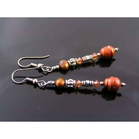 Copper Pearl and Crystal Earrings