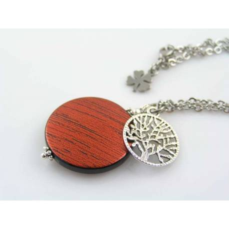 Necklace with Tree of Life Charm and Red Circle Pendant