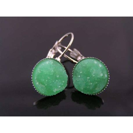 Bright Green Druzy Earrings