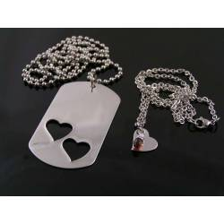 Matching Couple Dog Tag and Heart Necklaces