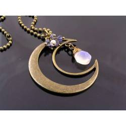 Rainbow Moonstone and Iolite Moon Charm Necklace