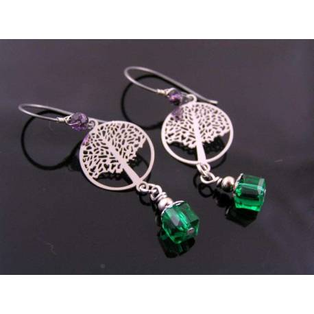Delicate Tree of Life Earrings, Hypoallergenic
