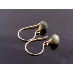Genuine Chrysoberyl Earrings, Rose Gold