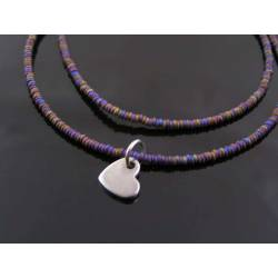Initial Necklace with Heart Charm and Purple Beads