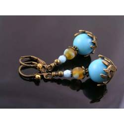 Ornate Bronze and Blue Earrings