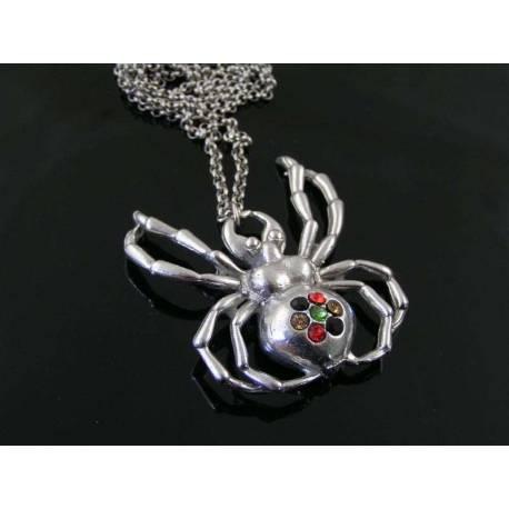 Crystal Set Spider Necklace, Large