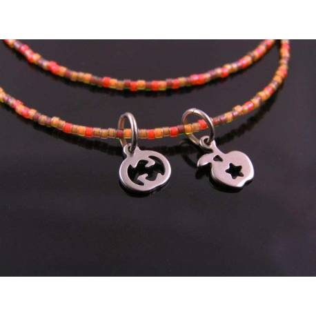 Beaded Necklace in Orange and Brown, Pumpkin and Apple Charm