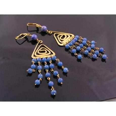 Blue Aventurine Chandelier Earrings