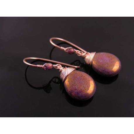Wire Wrapped Shiny Drop Earrings in Rose Gold