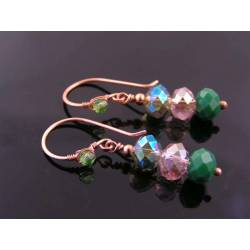 Green Crystal Copper Earrings