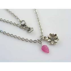 Lotus Flower and Pink Sapphire Leaf Charm Necklace