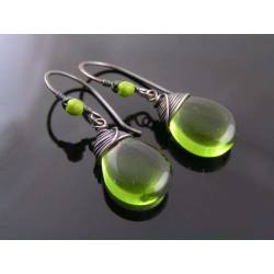 Silver Green Wire Wrapped Czech Glass Drop Earrings
