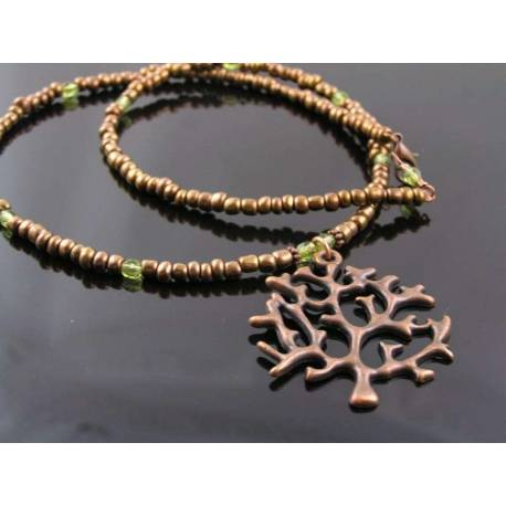 Copper Tree of Life Necklace, Seed Beads