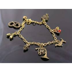 Octoberfest/Black Forest Bracelet, Charm Bracelet with Pretzel, Dachshound and Acorn Charm