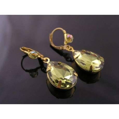 Pale Olive Green Claw Set Drop Earrings