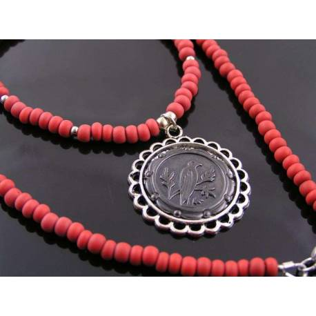 Dramatic Red Necklace with Black Raven Pendant