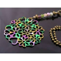 Handmade Hippie Necklace with Heart and Flower Pendant