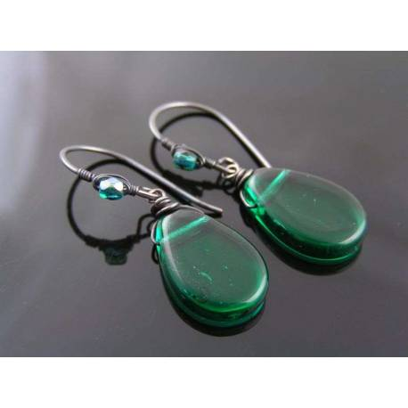 Wire Wrapped Forest Green Earrings