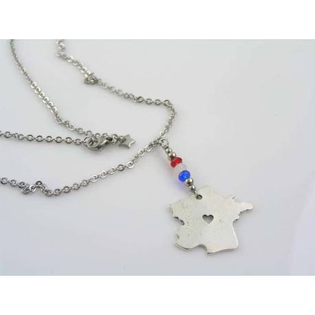 Map of France Necklace, Tricolore Crystals