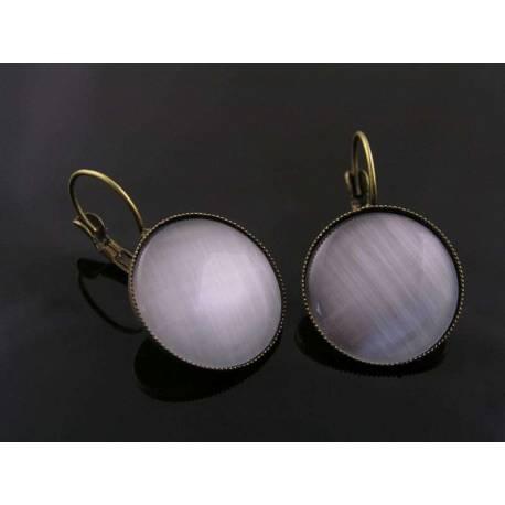 Large Silver Cat's Eye Earrings