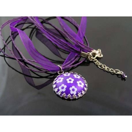 Purple Flower Retro Necklace