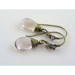 Large Champagne Ametrine Wire Wrapped Single Drop Earrings