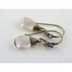 Large Champagne Ametrine Wire Wrapped Single Drop Earrings