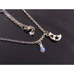 Crescent Moon Necklace with Rainbow Moonstone