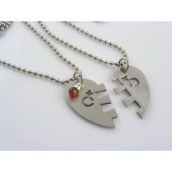 Matching Heart Pendant Couple Necklaces