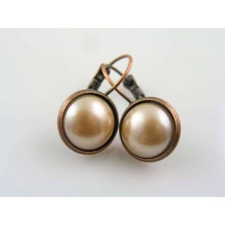 Copper Pearl Earrings, Ear Cuffs
