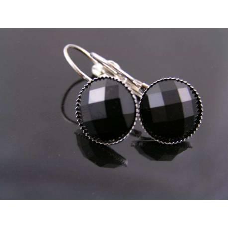 Black Cabochon Earrings