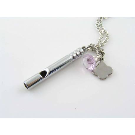 Initial Necklace with Whistle Charm and Amethyst