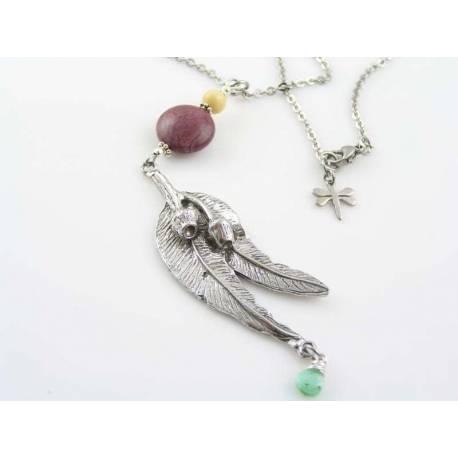 Australian Necklace with Eucalyptus Leaf Pendant and Gemstones