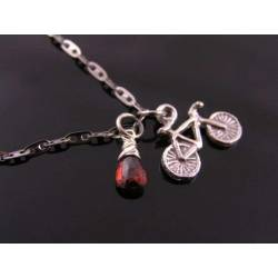 Super Cute Bicycle Charm Necklace with Garnet