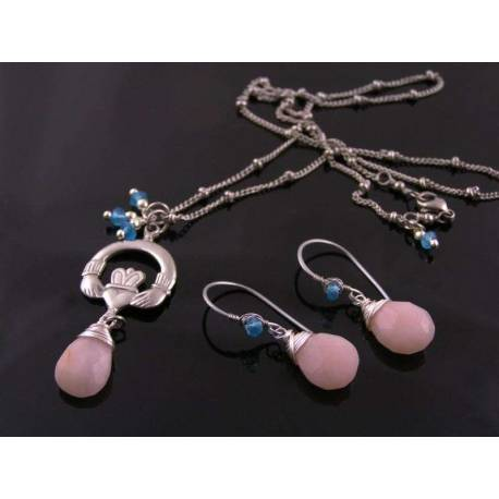Pink Opal Necklace and Earrings Set