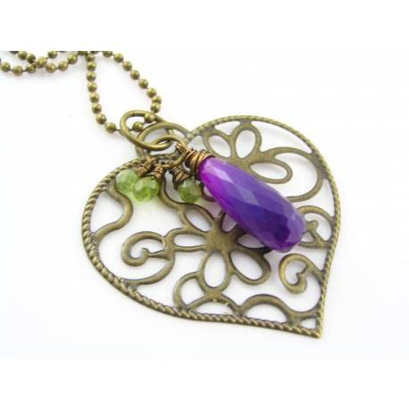 Large Purple Chalcedony and Peridot Drops with Large Filigree Heart Necklace